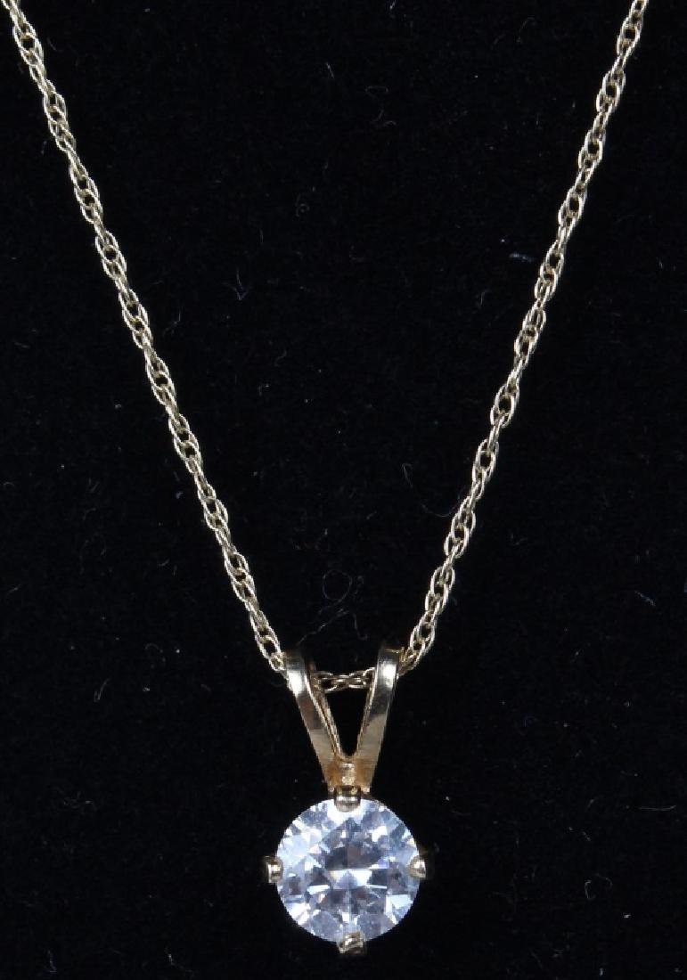 LADIES 14K YELLOW GOLD CUBIC ZIRCONIA NECKLACE