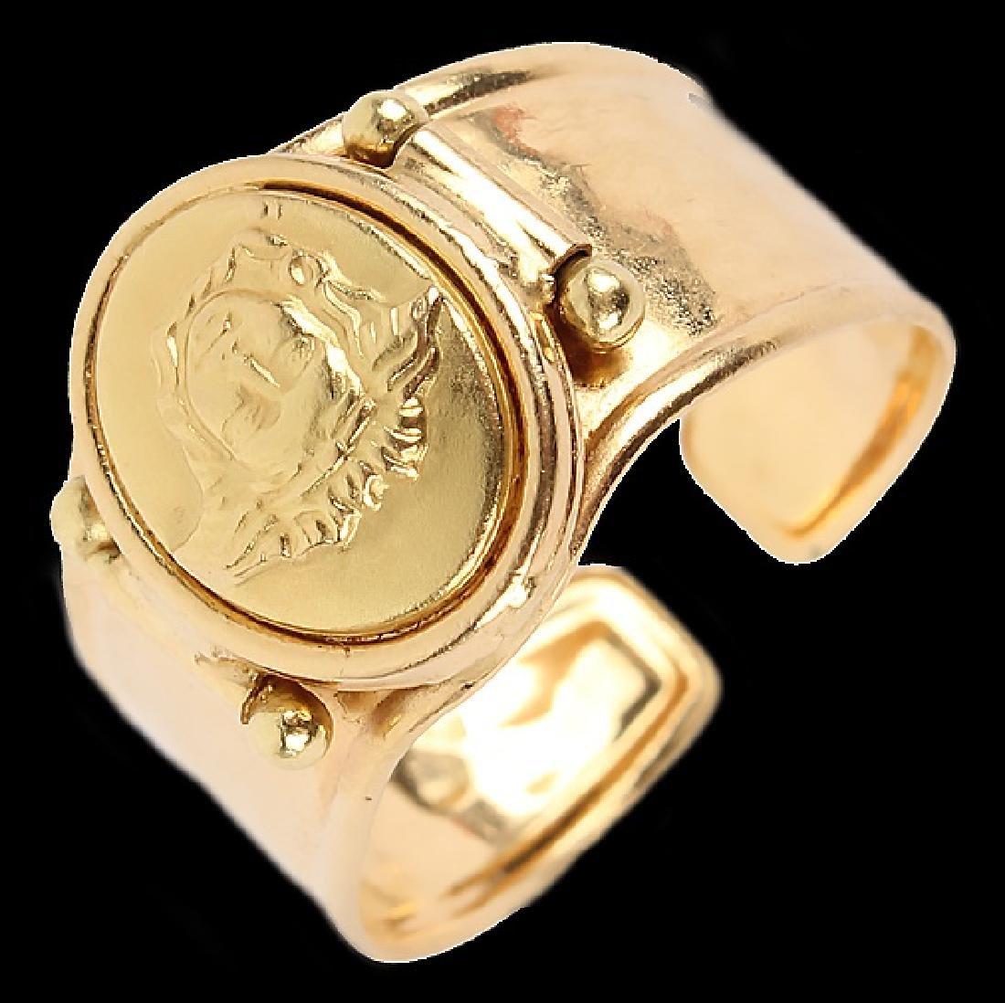 LADIES 18K YELLOW GOLD ITALIAN FASHION RING