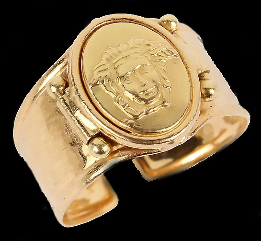 LADIES 18K YELLOW GOLD ITALIAN FASHION RING - 2
