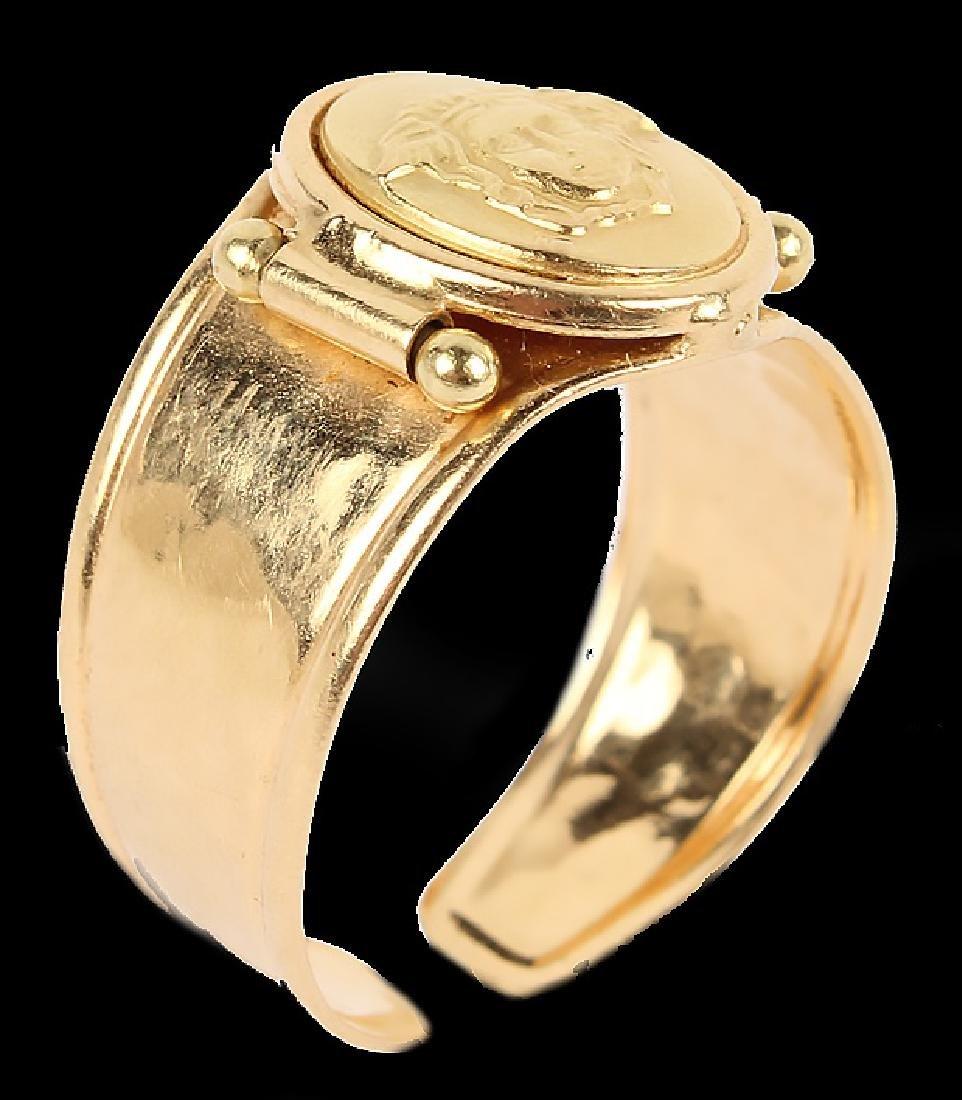 LADIES 18K YELLOW GOLD ITALIAN FASHION RING - 3