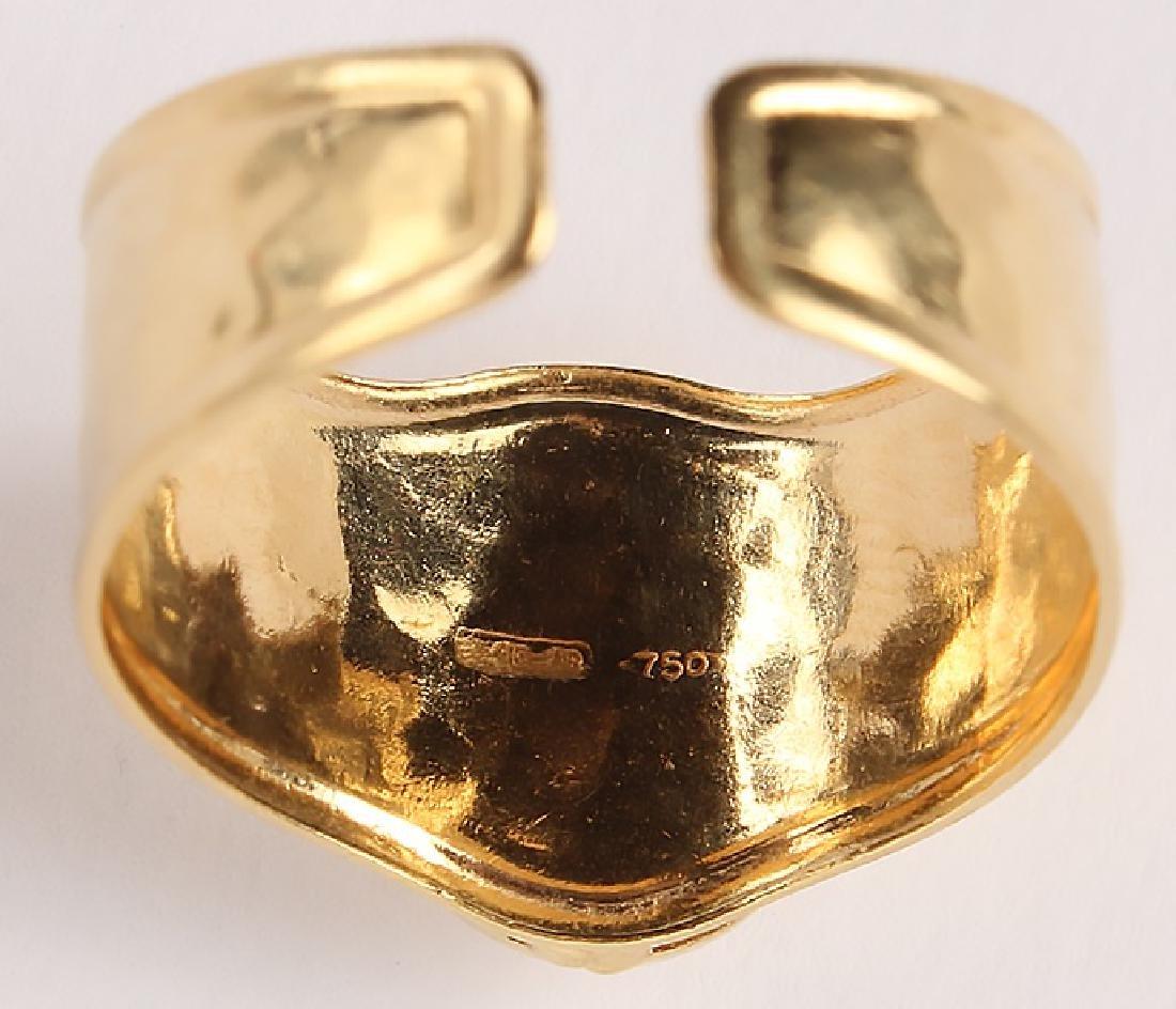 LADIES 18K YELLOW GOLD ITALIAN FASHION RING - 4
