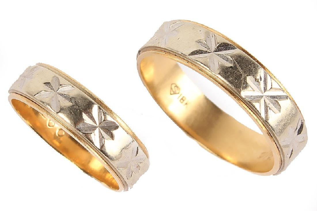 MATCHED 18K TWO TONE GOLD WEDDING BANDS