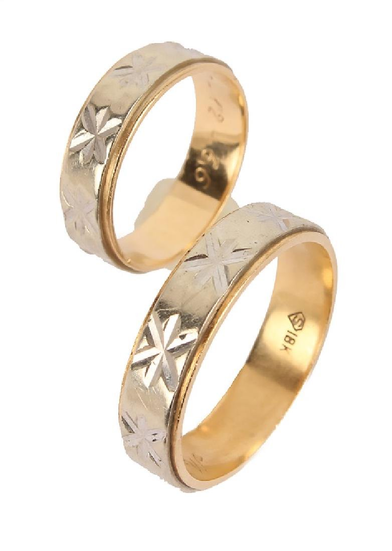 MATCHED 18K TWO TONE GOLD WEDDING BANDS - 2