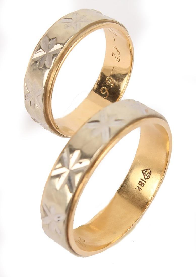MATCHED 18K TWO TONE GOLD WEDDING BANDS - 3