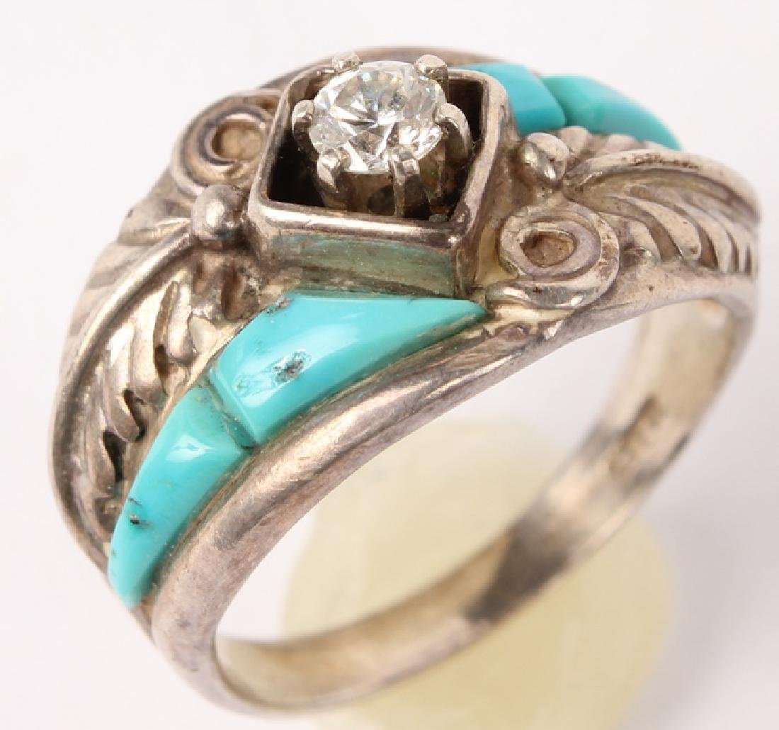 STERLING SILVER TURQUOISE FASHION RING C.W.