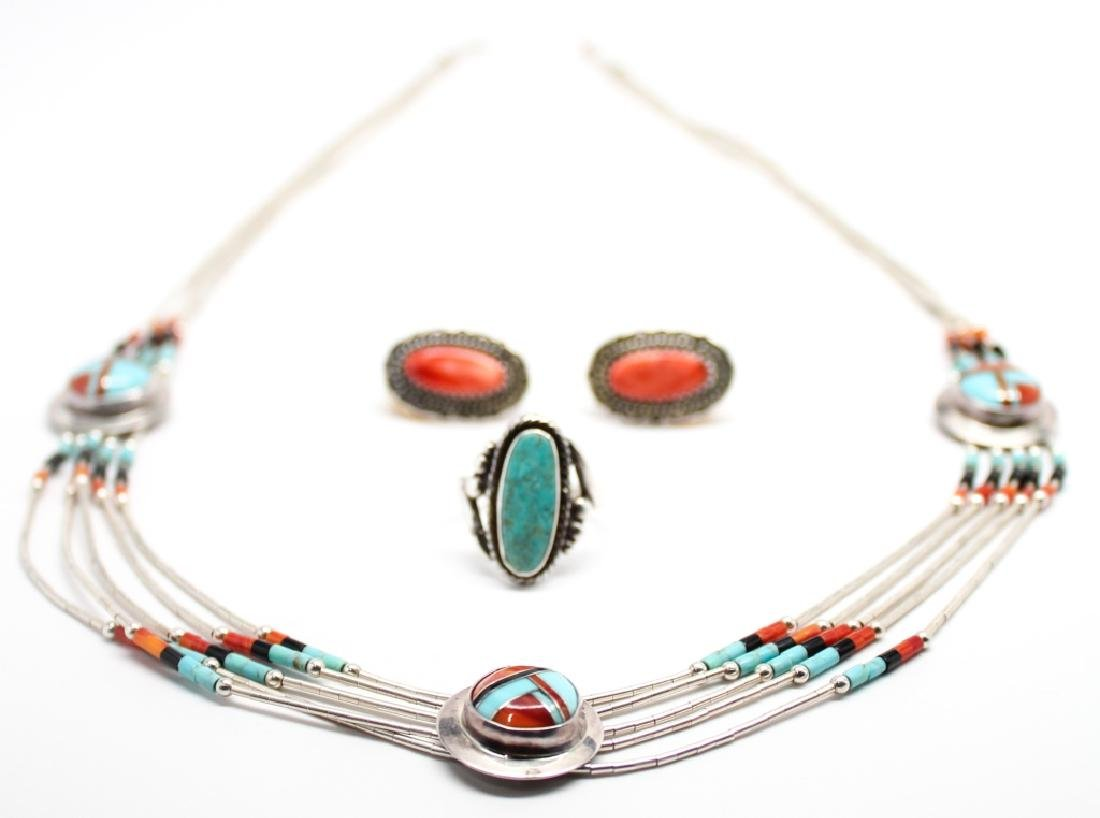 STERLING SILVER TURQUOISE AND CORAL JEWELRY