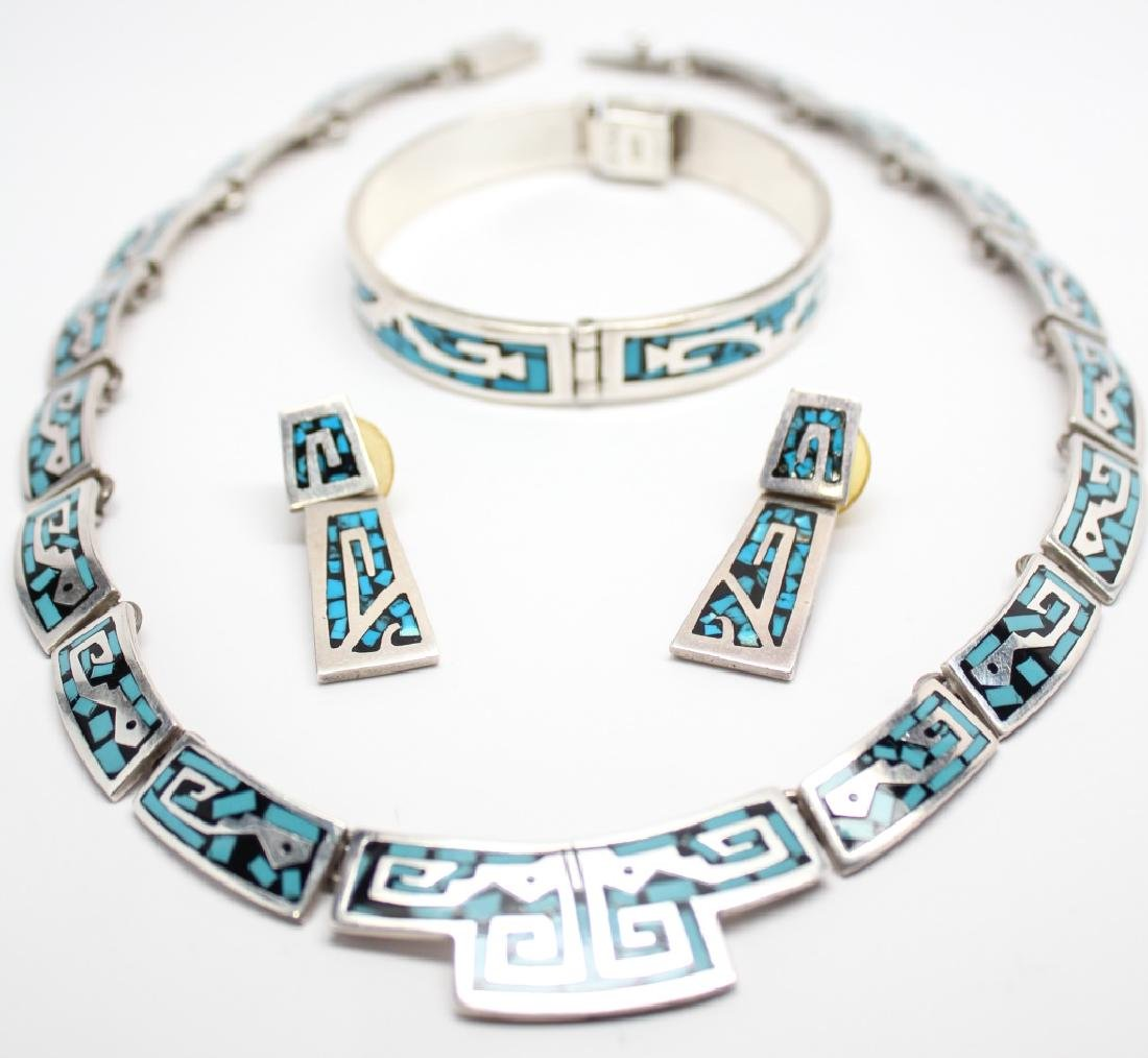 STERLING TAXCO TURQUOISE & ENAMEL JEWELRY SET