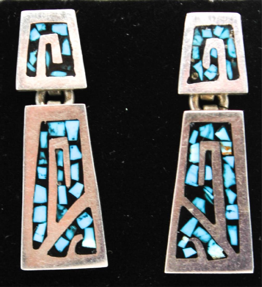 STERLING TAXCO TURQUOISE & ENAMEL JEWELRY SET - 5