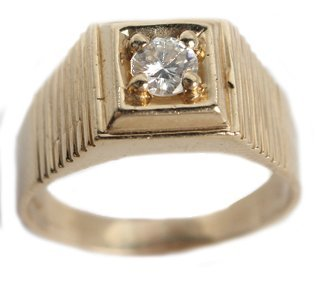 MEN'S 14K YELLOW GOLD DIAMOND SOLITAIRE RING