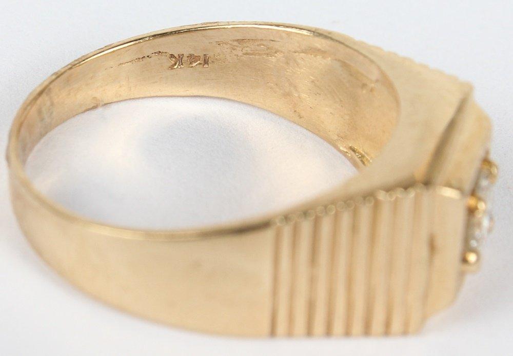 MEN'S 14K YELLOW GOLD DIAMOND SOLITAIRE RING - 2