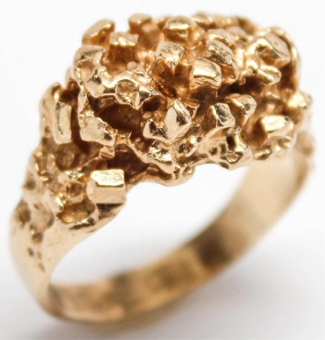 MEN'S 14K YELLOW GOLD NUGGET RING