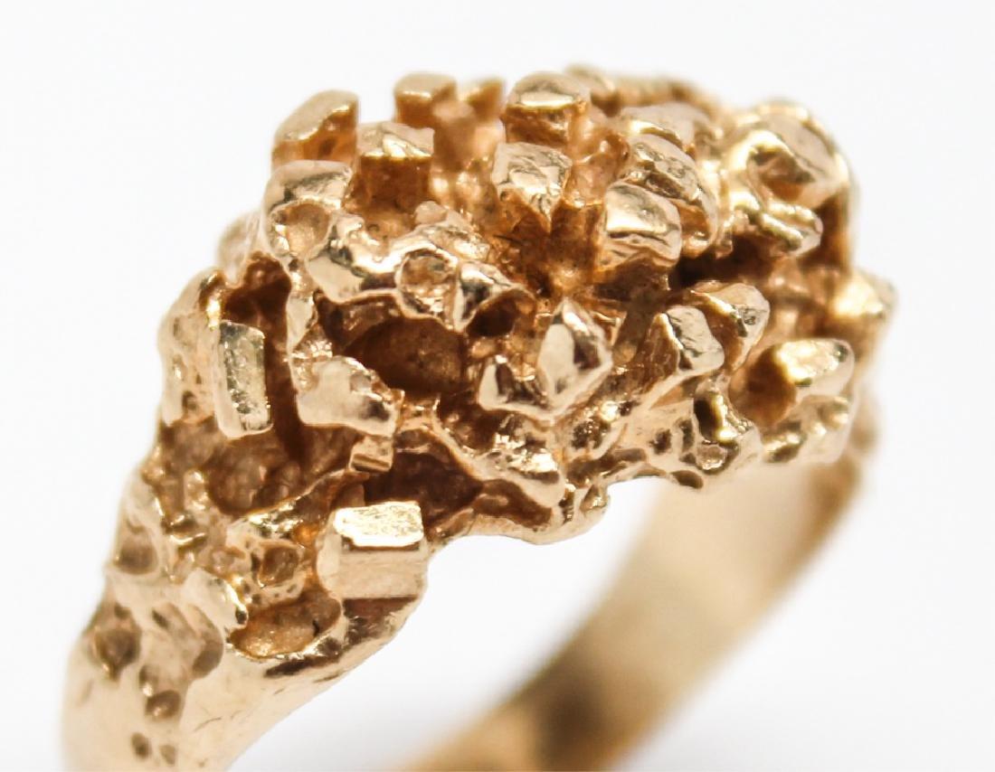 MEN'S 14K YELLOW GOLD NUGGET RING - 2