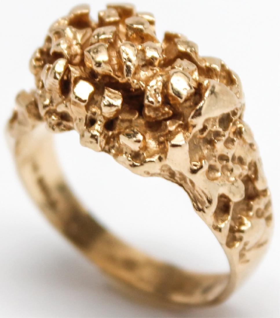 MEN'S 14K YELLOW GOLD NUGGET RING - 3