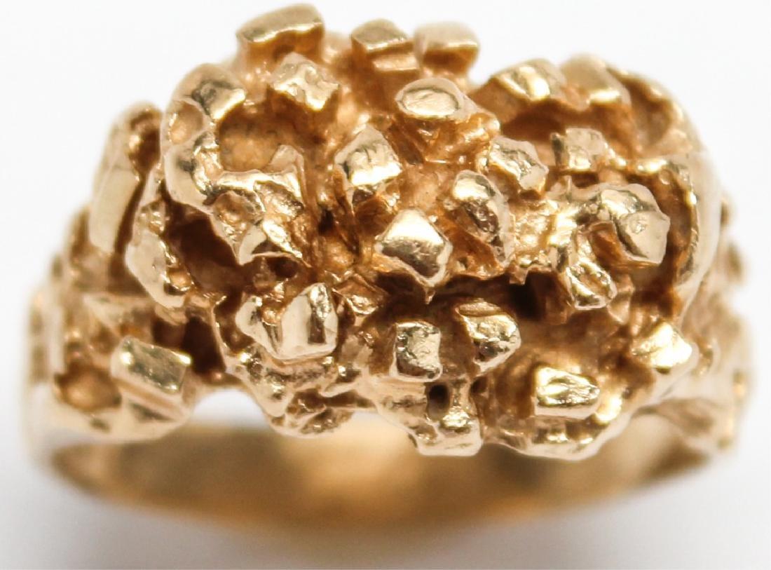 MEN'S 14K YELLOW GOLD NUGGET RING - 4