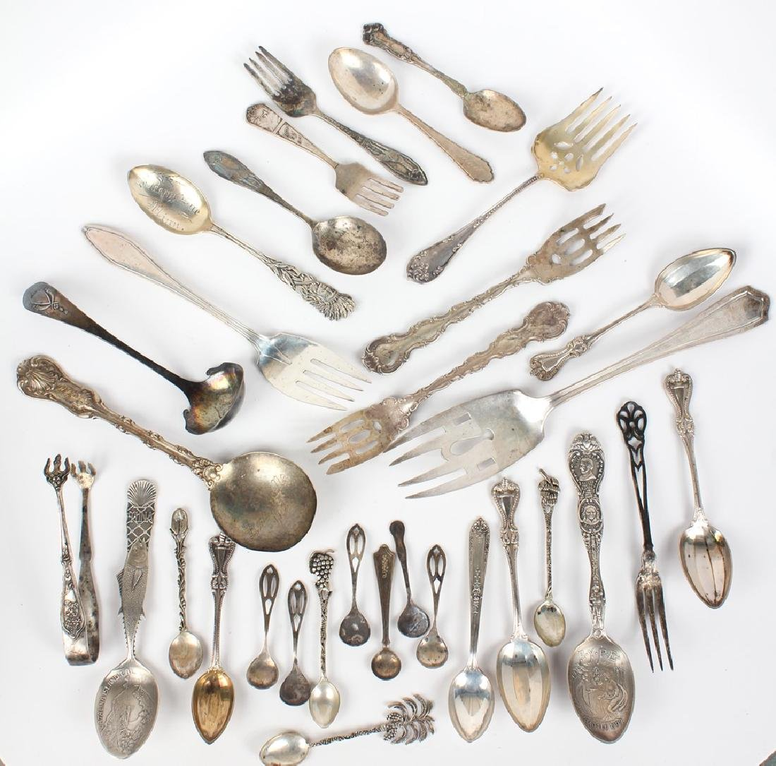 SILVER FLATWARE - .800, STERLING & COIN LOT