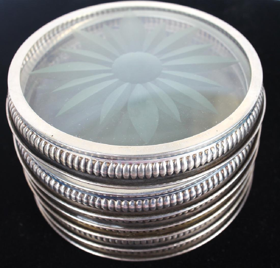 STERLING SILVER ETCHED GLASS COASTER LOT