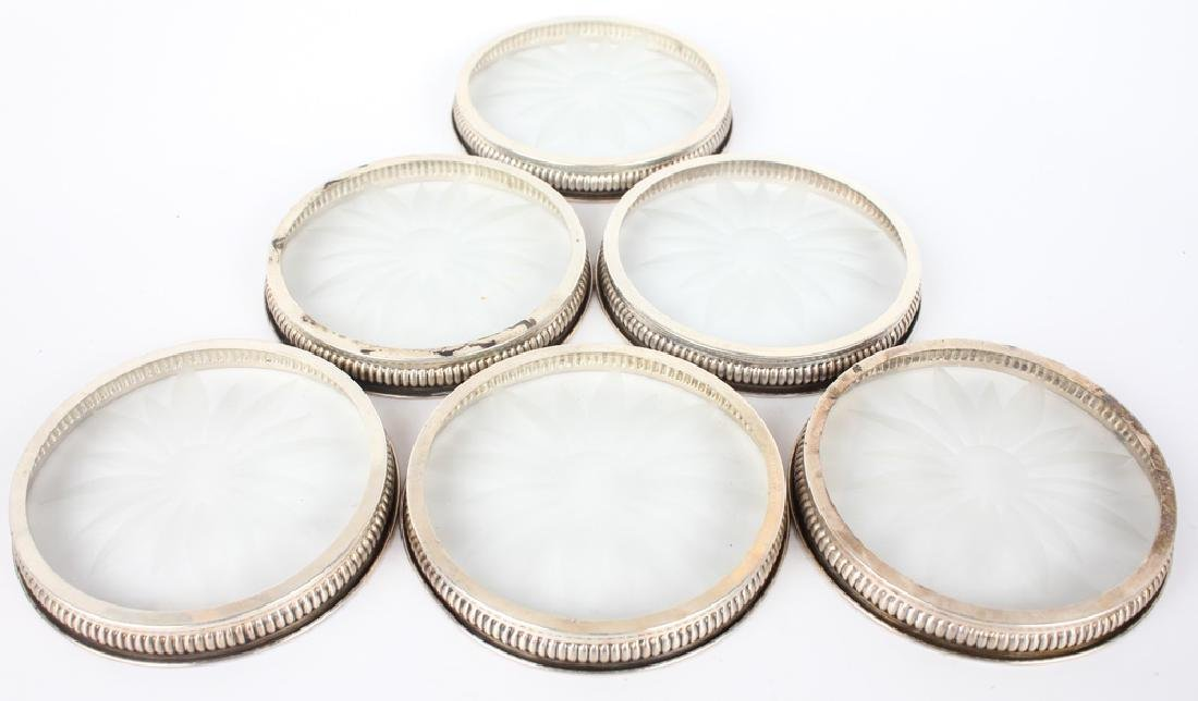 STERLING SILVER ETCHED GLASS COASTER LOT - 2