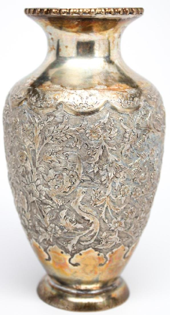 CHASED PERSIAN IRANIAN .875 SILVER ORNATE VASE