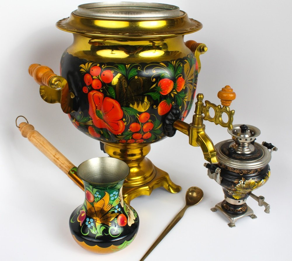 RUSSIAN HAND PAINTED SAMOVAR & MINIATURE