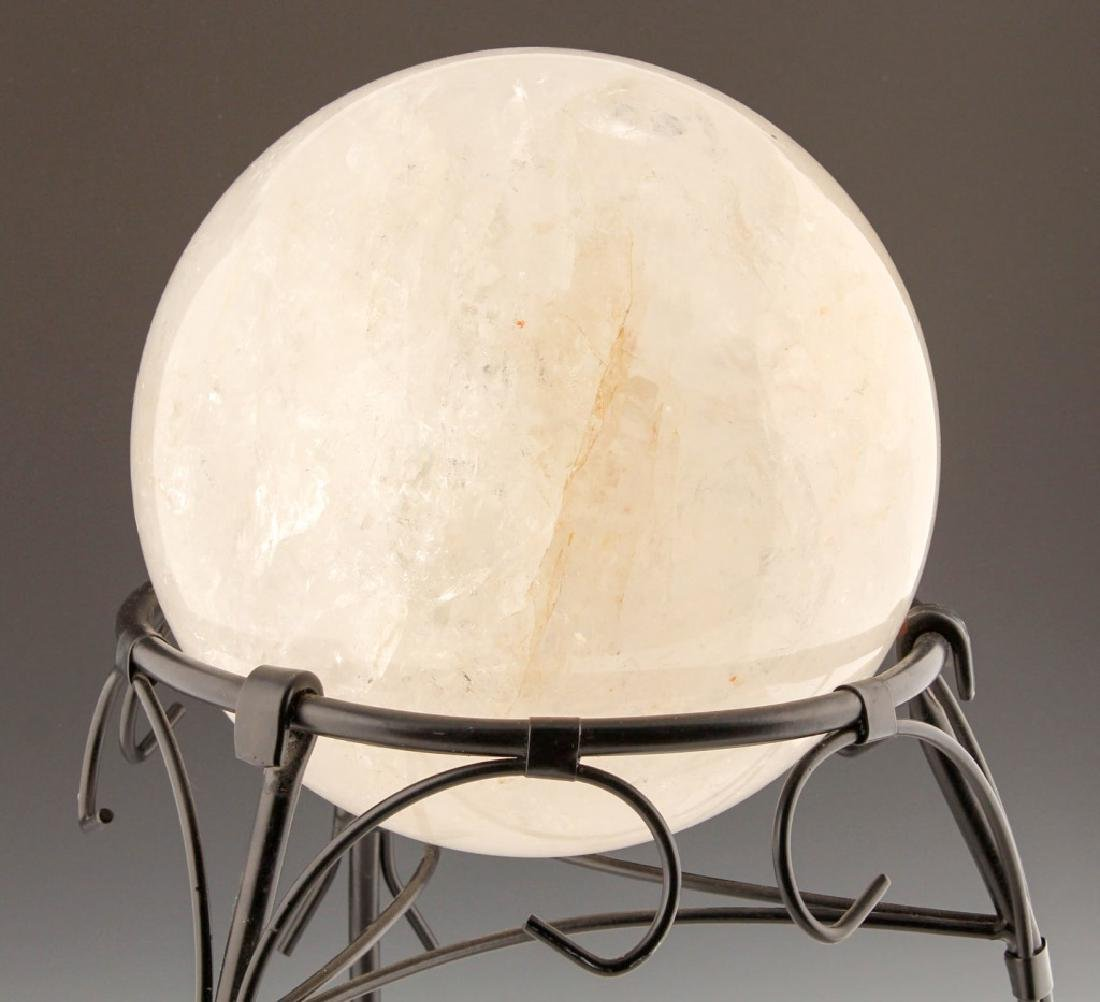 QUARTZ ROCK CRYSTAL SPHERE WITH STAND