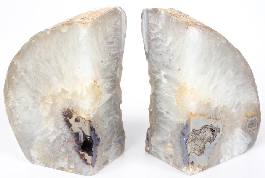 WHITE GEODE BOOKENDS - PAIR