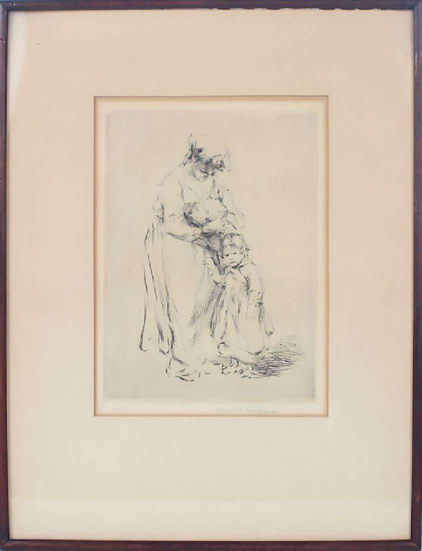 """FAMILIE SWISSE"" ETCHING BY ARTHUR HEINTZELMAN"