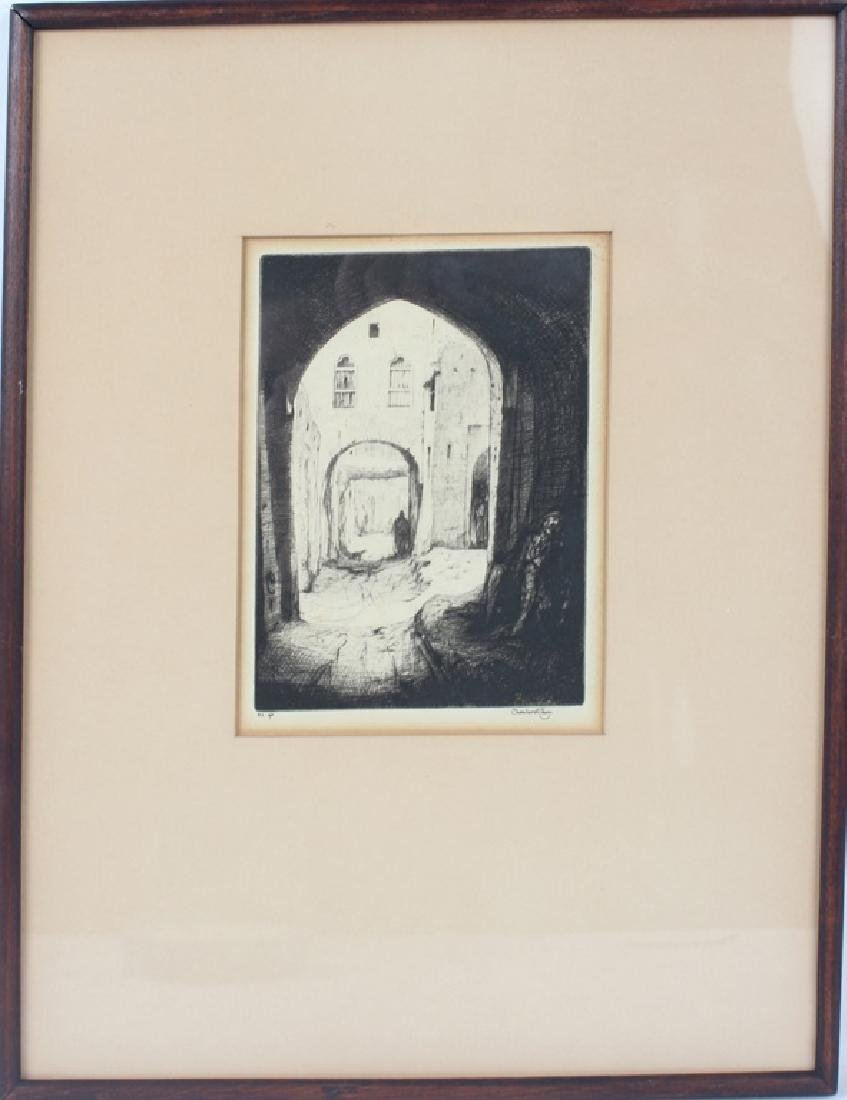 """THE BEGGAR"" DRY POINT ETCHING BY CHARLES CANE"