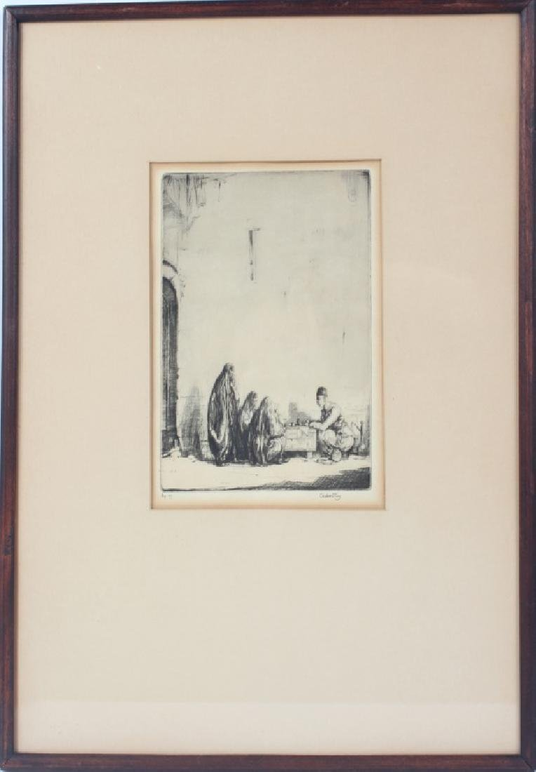 THE LETTER WRITER BAGHDAD-CHARLES CAIN ETCHING