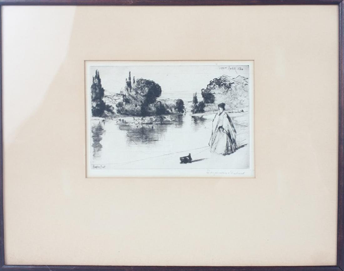 """""""THE TOWING PATH"""" ETCHING BY SIR FRANCIS HADEN"""