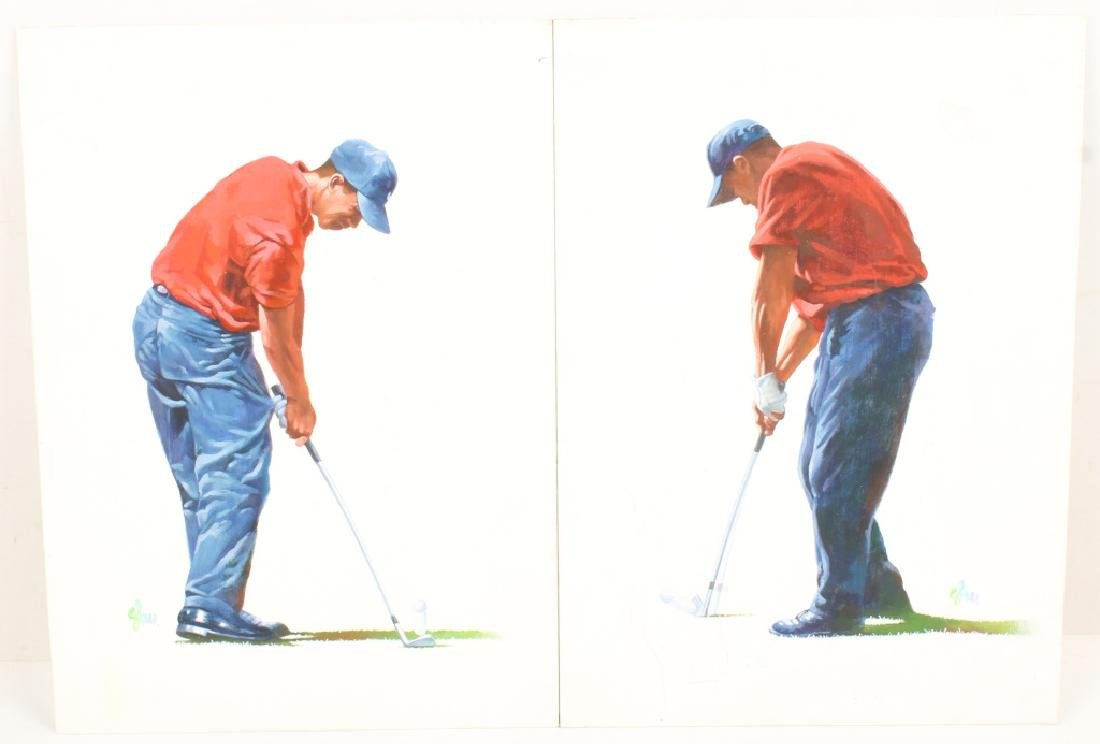 PAIR GOUACHE ON BOARD TIGER WOODS PAINTINGS SIGNED