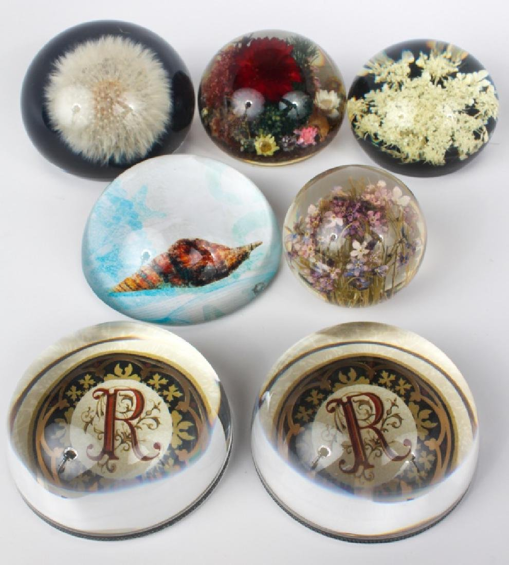 GLASS & RESIN PAPERWEIGHTS - LOT OF 7