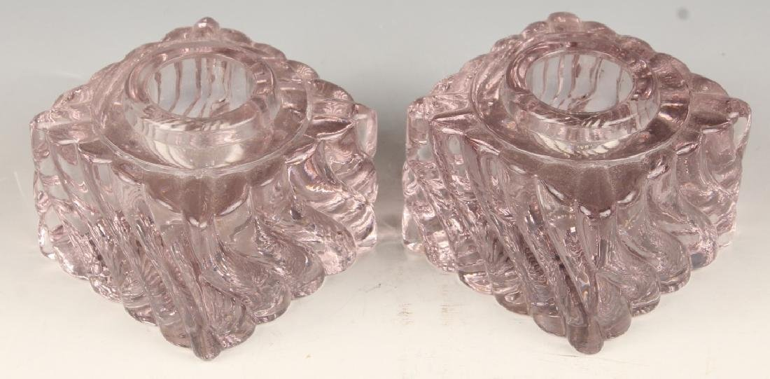 PAIR PINK SPIRAL GLASS INKWELLS