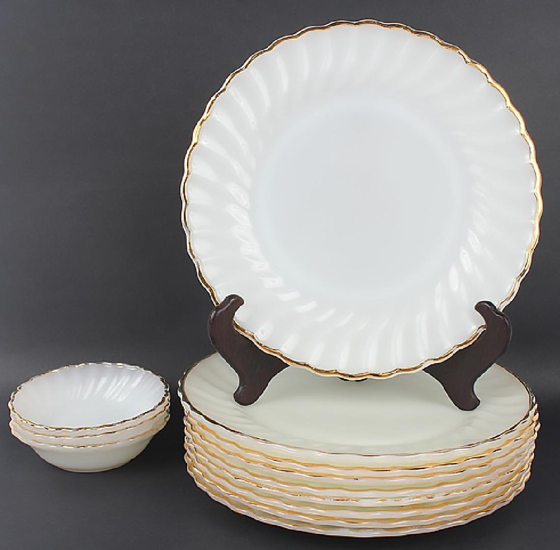 ANCHOR HOCKING MILK GLASS GOLD TRIM DINNERWARE