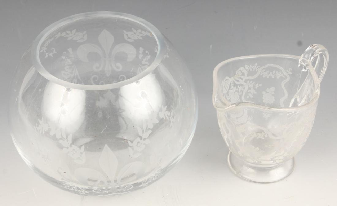 ETCHED LACE GLASS FOOTED CREAMER SPHERICAL VASE