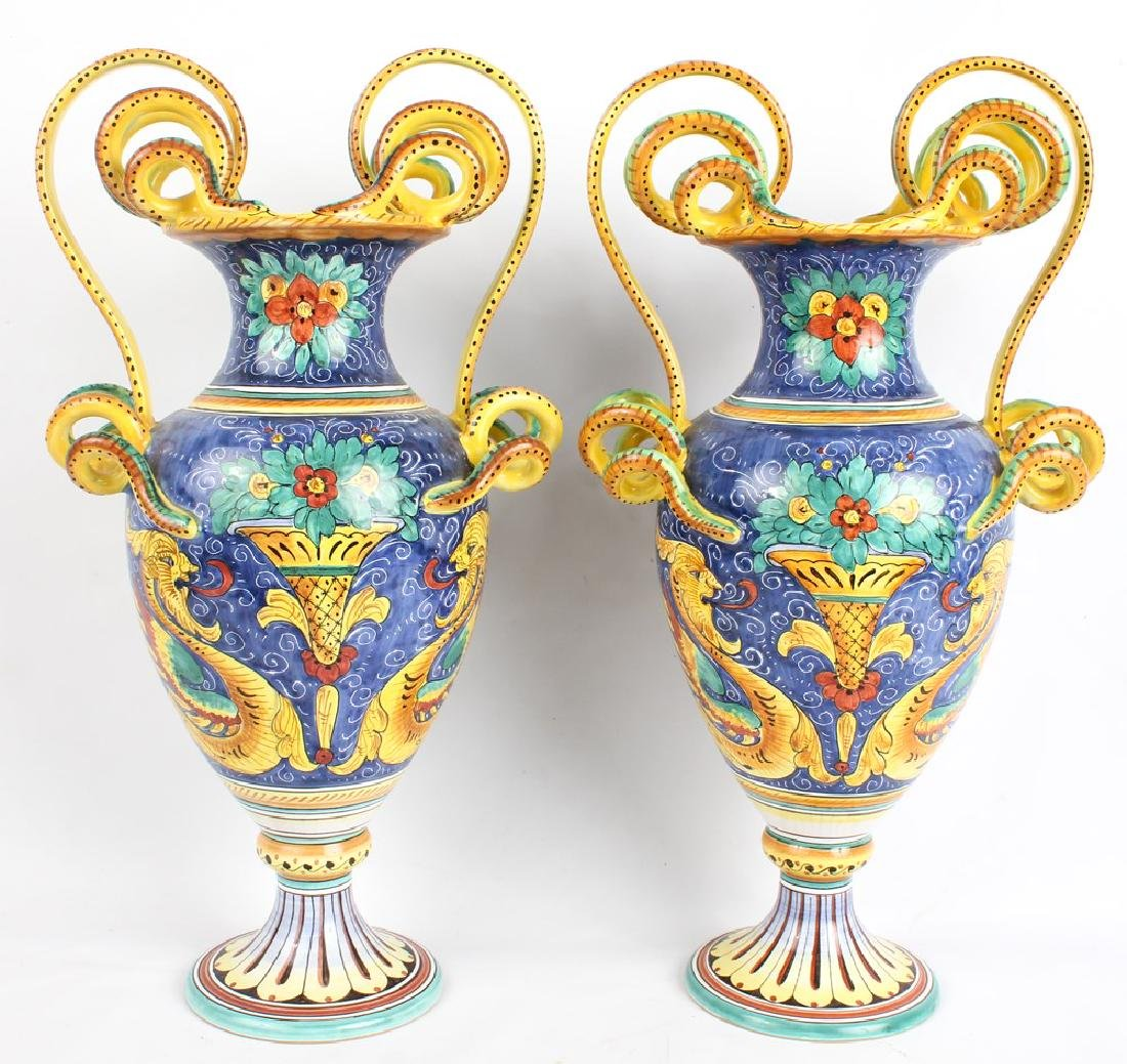 PAIR OF L'ANTICA DERUTA CERAMIC ITALIAN VASES
