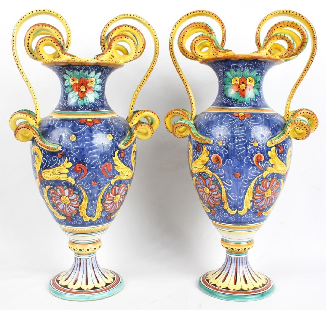 PAIR OF L'ANTICA DERUTA CERAMIC ITALIAN VASES - 3