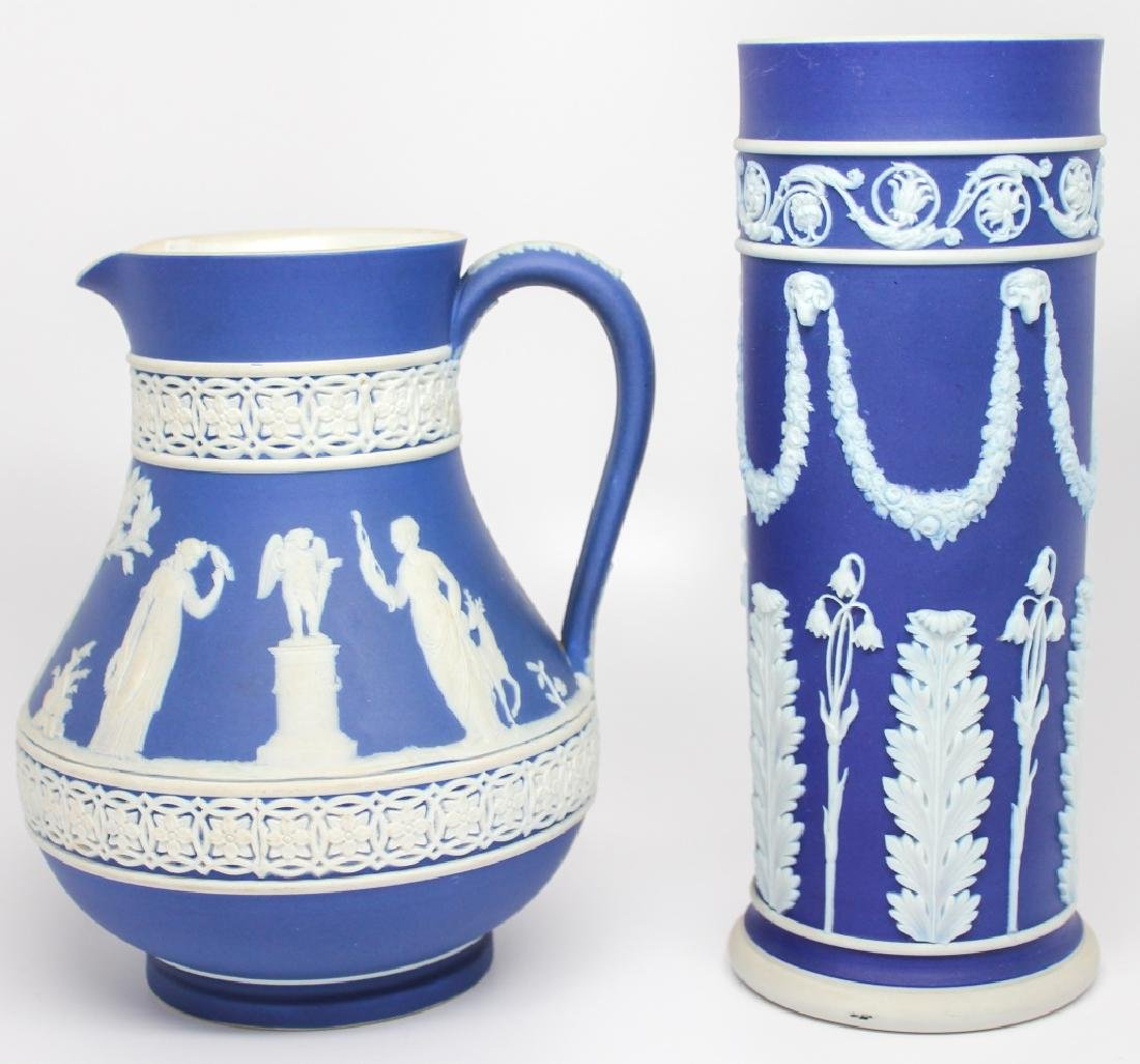 WEDGWOOD BLUE & WHITE JASPERWARE VASE & PITCHER
