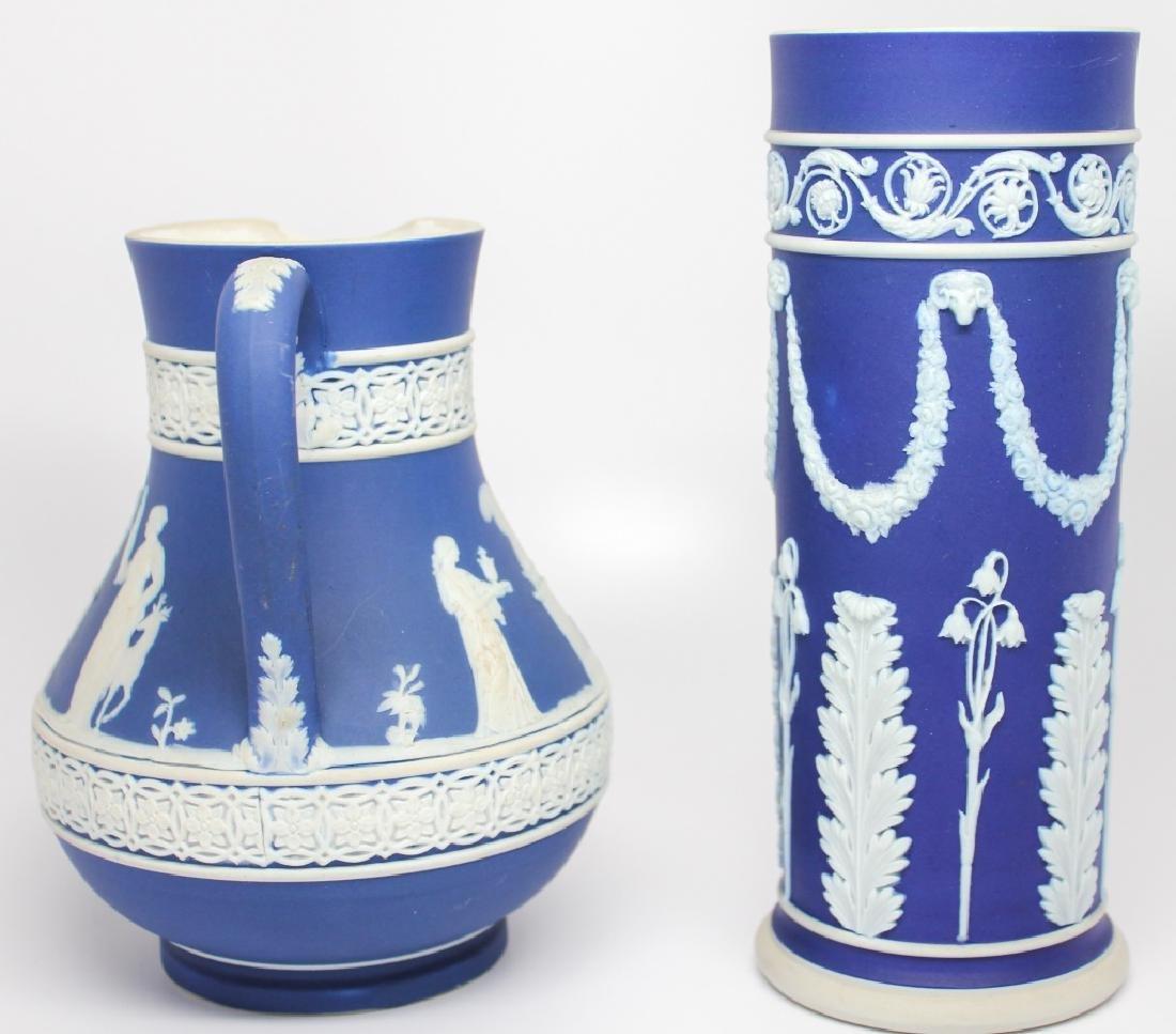 WEDGWOOD BLUE & WHITE JASPERWARE VASE & PITCHER - 2