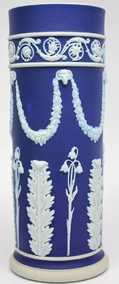 WEDGWOOD BLUE & WHITE JASPERWARE VASE & PITCHER - 3