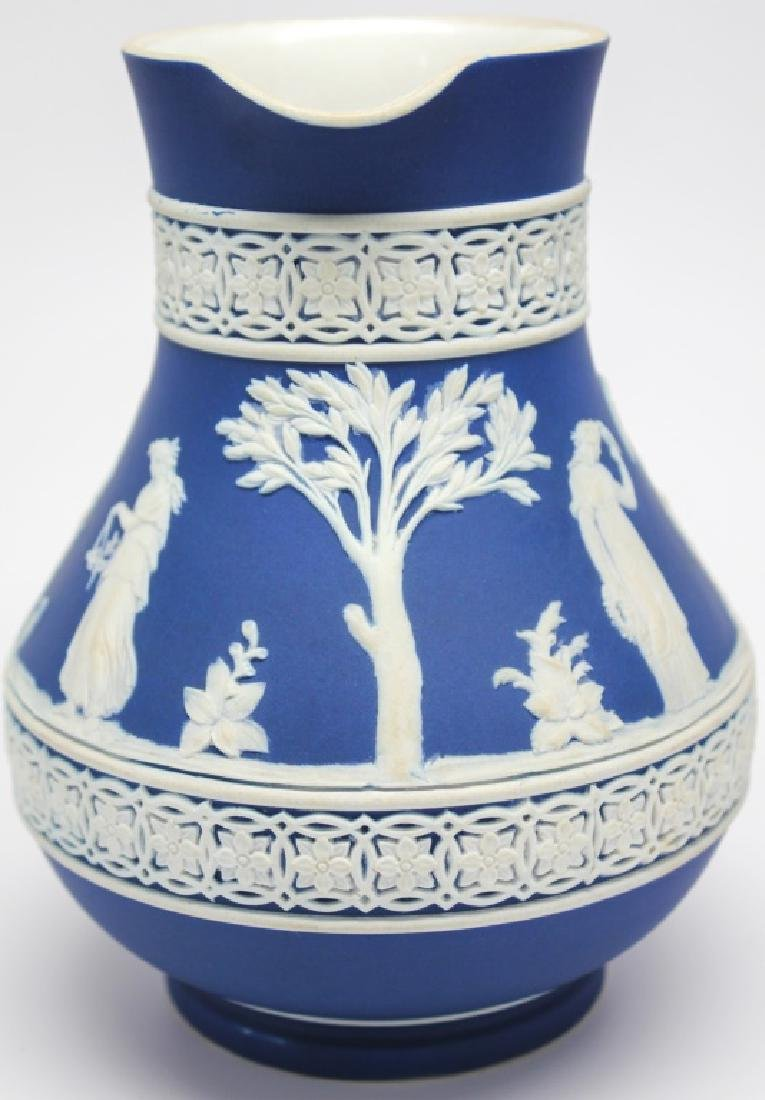WEDGWOOD BLUE & WHITE JASPERWARE VASE & PITCHER - 4