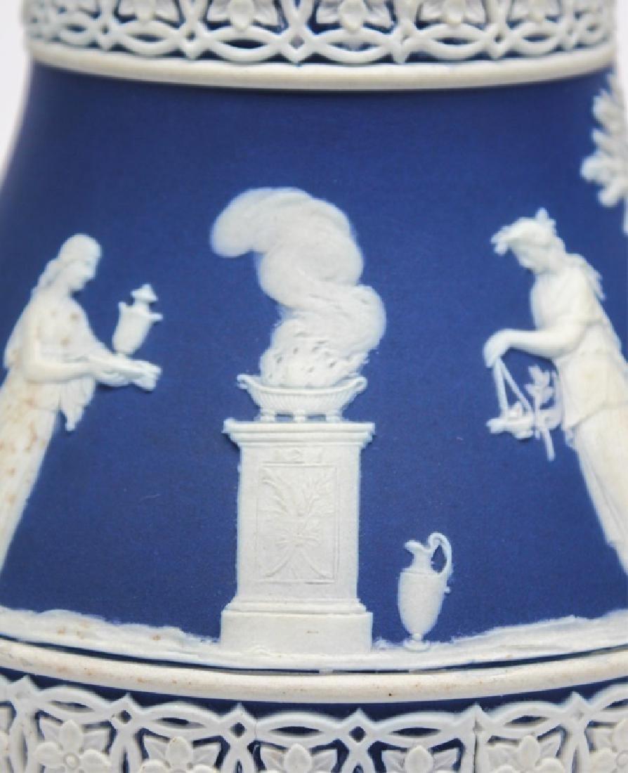 WEDGWOOD BLUE & WHITE JASPERWARE VASE & PITCHER - 5