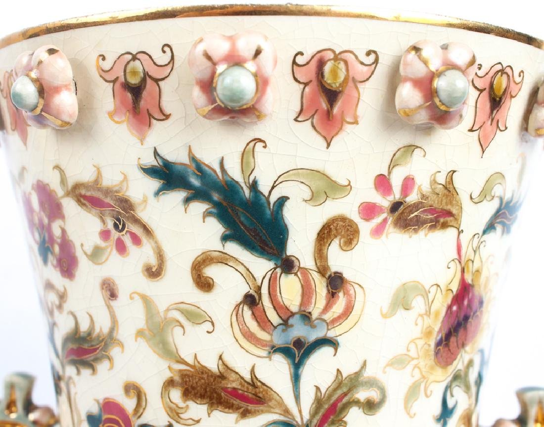 ZSOLNAY PECS PORCELAIN PIERCED HUNGARIAN VASE - 4