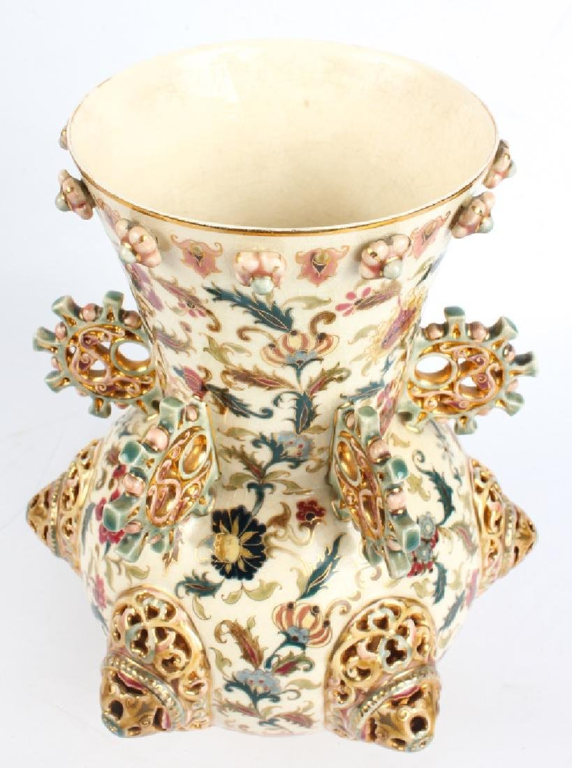 ZSOLNAY PECS PORCELAIN PIERCED HUNGARIAN VASE - 6