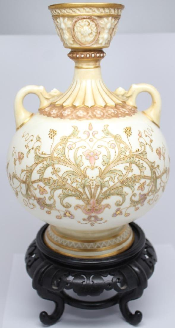 ENGLISH FLORAL HAND DECORATED PORCELAIN VASE