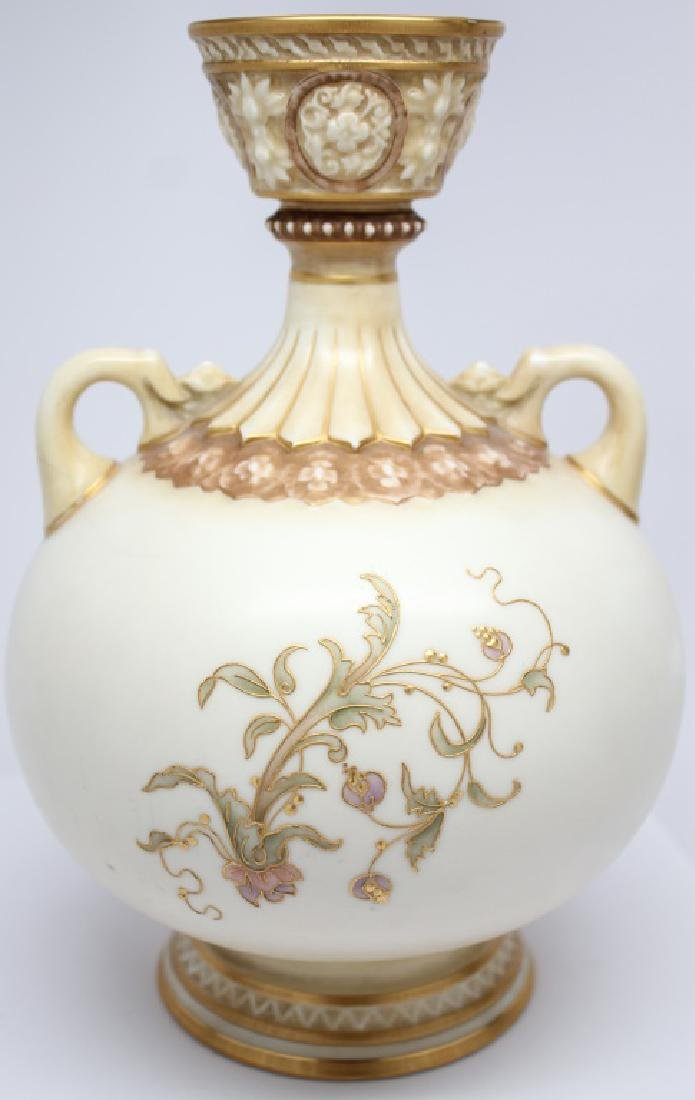 ENGLISH FLORAL HAND DECORATED PORCELAIN VASE - 3