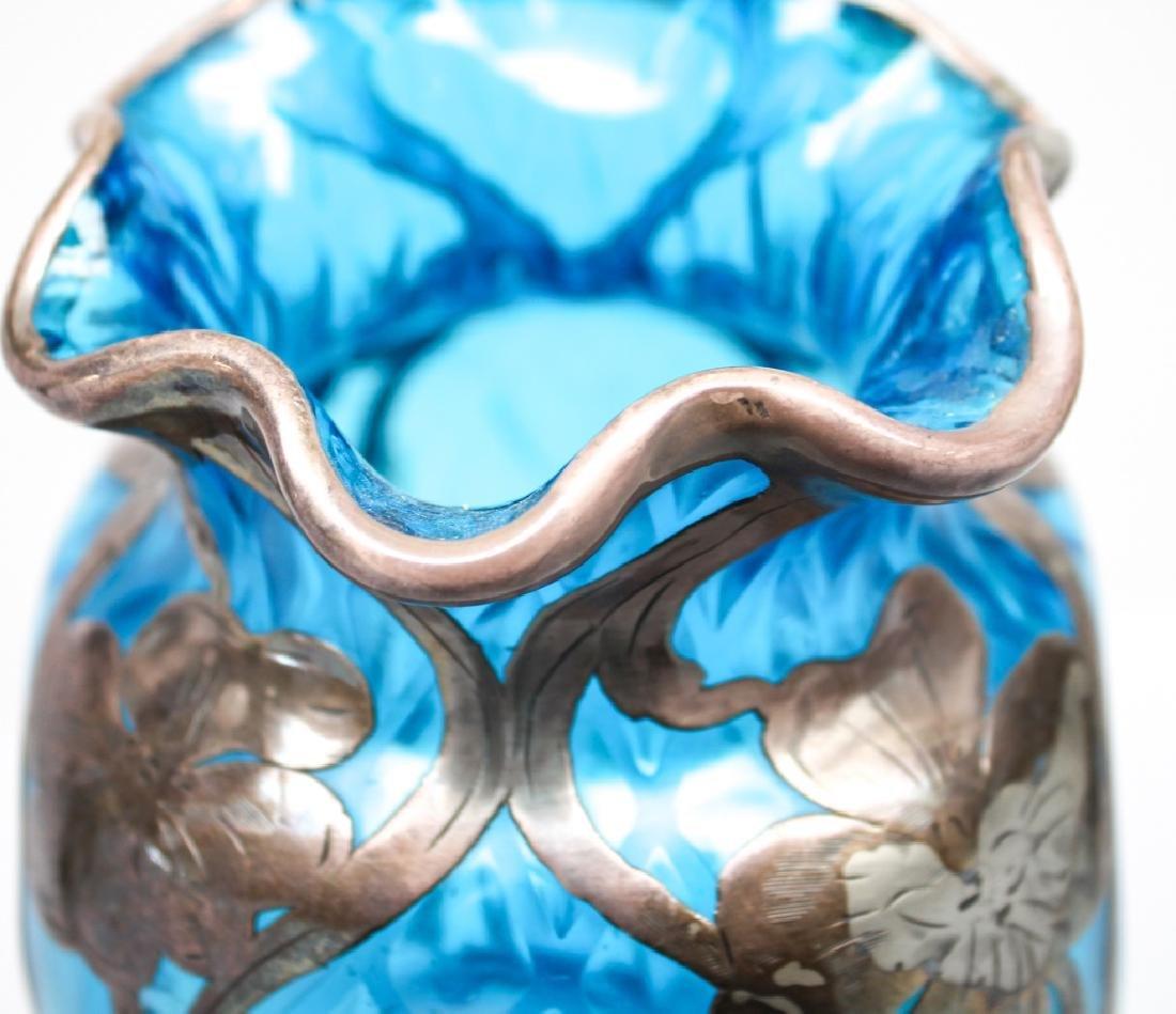 STERLING WRAPPED BLUE GLASS FLORAL ART GLASS VASE - 2