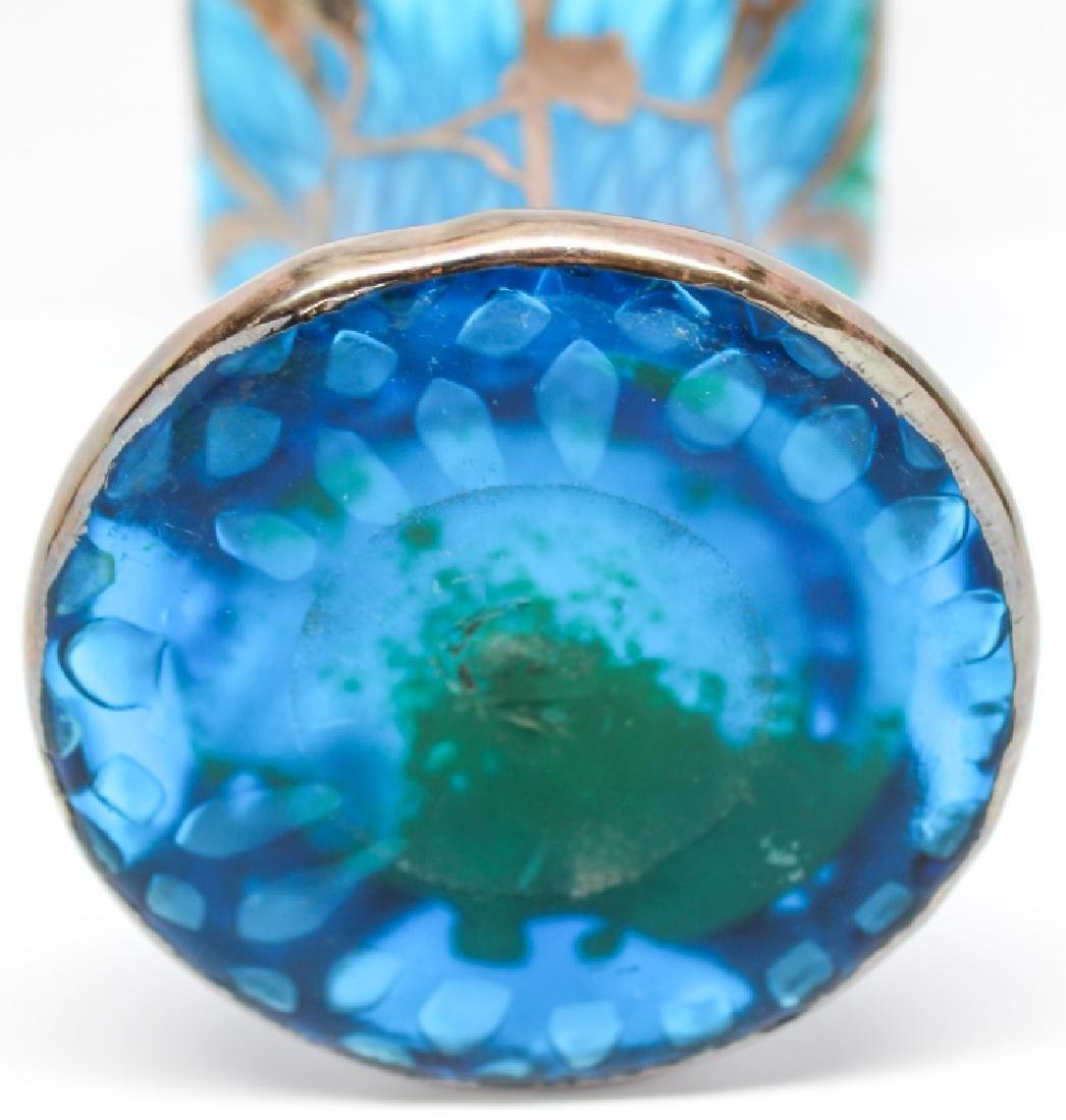 STERLING WRAPPED BLUE GLASS FLORAL ART GLASS VASE - 3