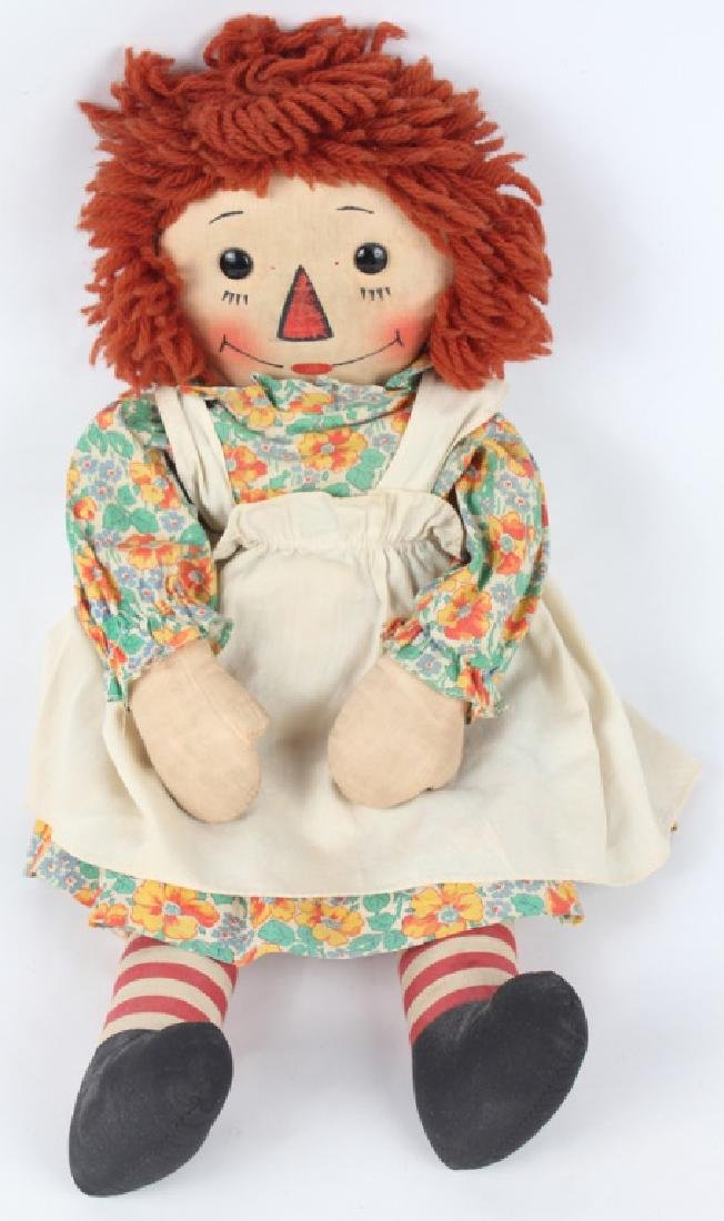 1938 RAGGEDY ANN DOLL W/ BLACK OUTLINED NOSE & BOX - 2