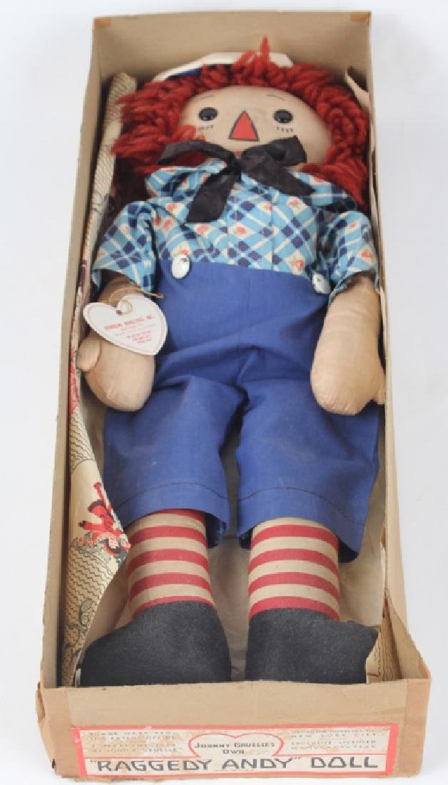 1938 RAGGEDY ANDY DOLL W/ OUTLINED NOSE & BOX