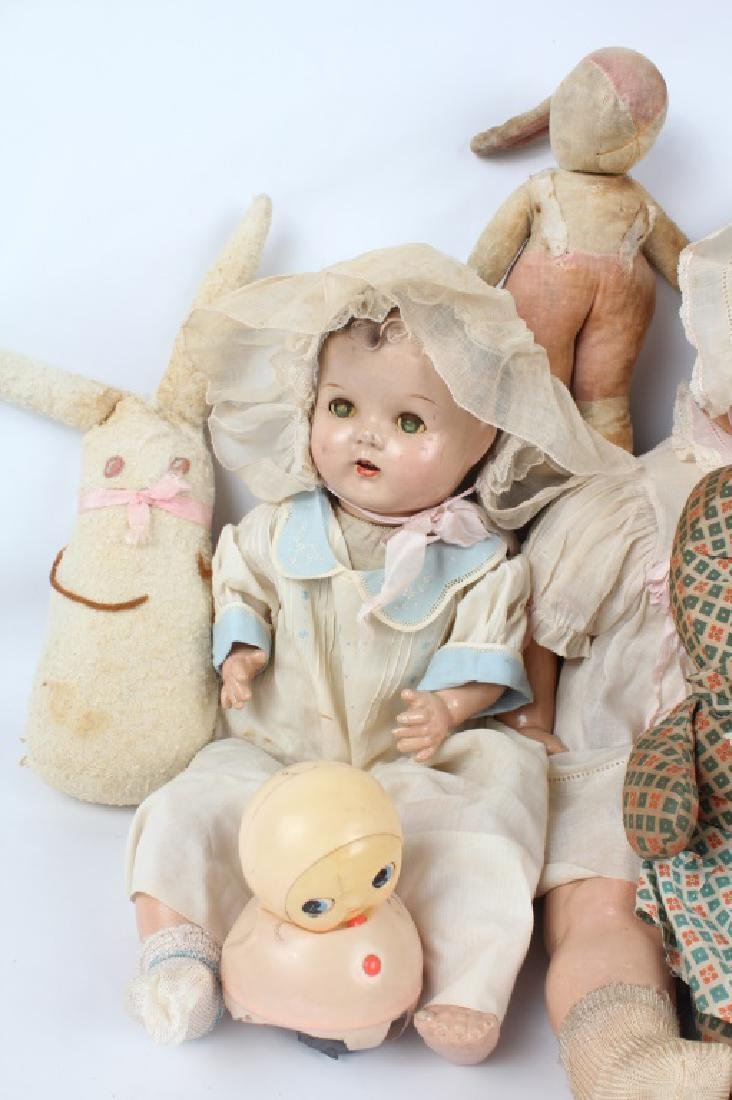 19TH & 20TH C. DOLLS & STUFFED ANIMALS - MIXED LOT - 3